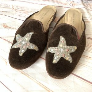 Stubbs & Wootton Brown Velour Starfish Slides